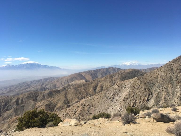A view of treeless mountain peaks.