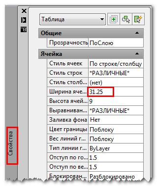 Редактирование таблицы в Автокад с помощью свойств