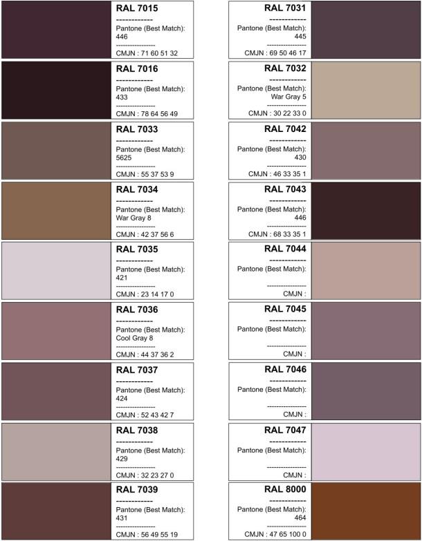 Цвета RAL. Таблица RAL-цветов. Лист9