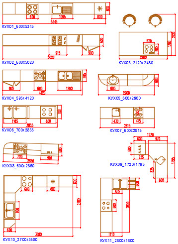 Блоки Автокад Мебель для кухни