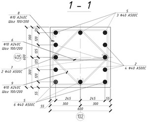 Армирование монолитной жб колонны. Сечение