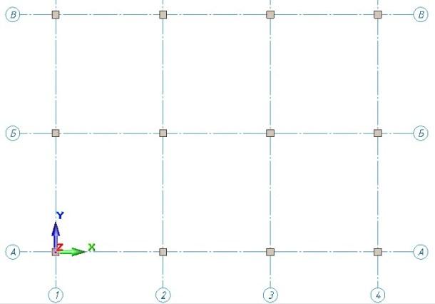 6-Установка колонн на пересечении осей