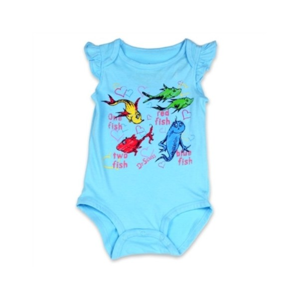 Dr Seuss Fish Two Aqua Onesie