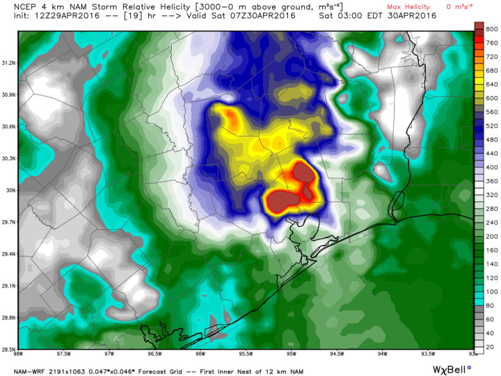 NAM model helicity forecast for 2am CT Saturday morning. (Weather Bell)