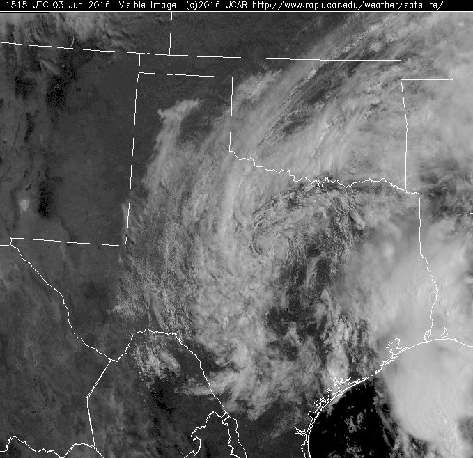 A satellite image from last Friday show a large circulation over Texas. (NCAR)