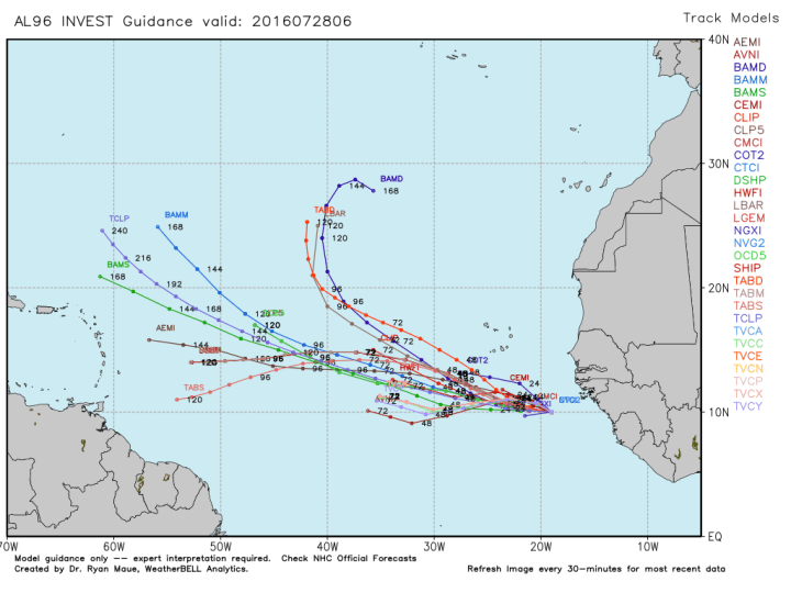 Some very early track model guidance for AL 96. (Weather Bell)