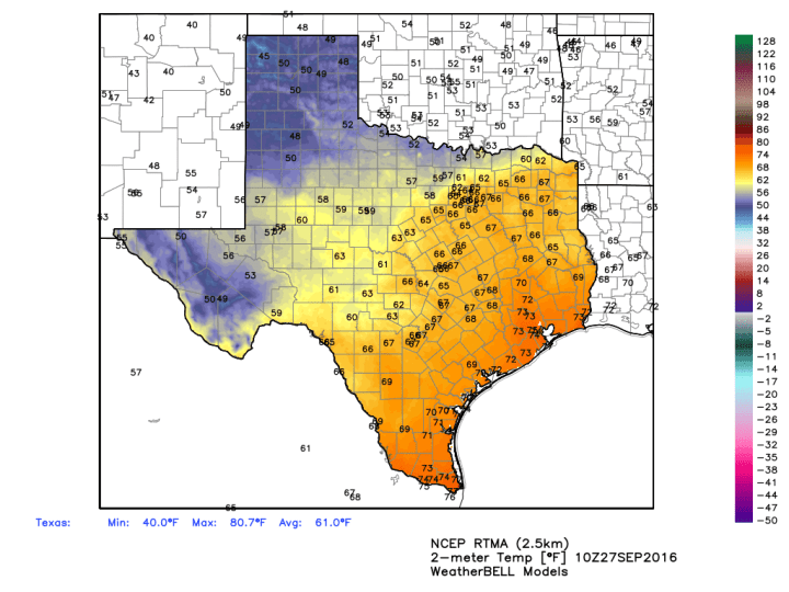 Temperatures this morning show the progress of cold air into Texas. (Weather Bell)