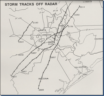 Radar-derived storm tracks from November 21, 1992, in the first days of our current Doppler Radars. (Lance Wood/NWS Houston)