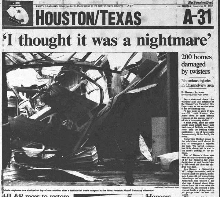 Damage and headlines from West Houston the morning after. (Houston Post/Rice Fondren Library)