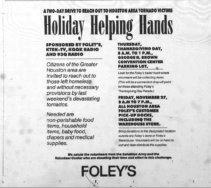Ad in Houston Chronicle for a tornado relief drive hosted by Foley's Department Store. (Rice Fondren Library)