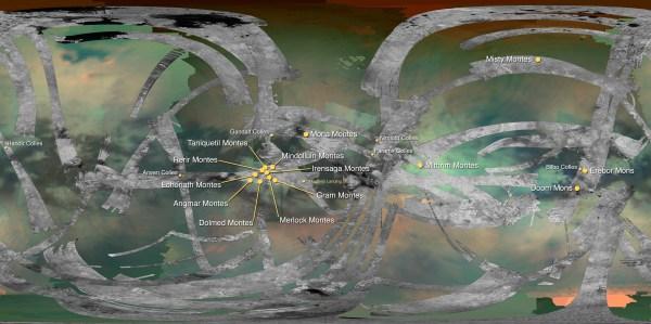 Map of Titan Saturn Moon