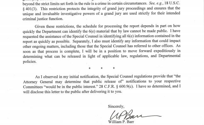 Full Letter Read Attorney General William Barr S Letter