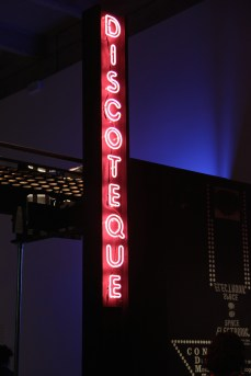 A reproduction of Space Electronic's discotheque sign, designed by Carlo Caldini in c. 1975. Made by Neon Specialists, London