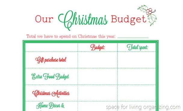christmas budget planning printable