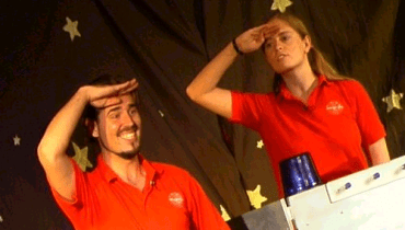 Matt Fox and Jo Fox perform the Kids in Space show at the Cheltenham Science Festival
