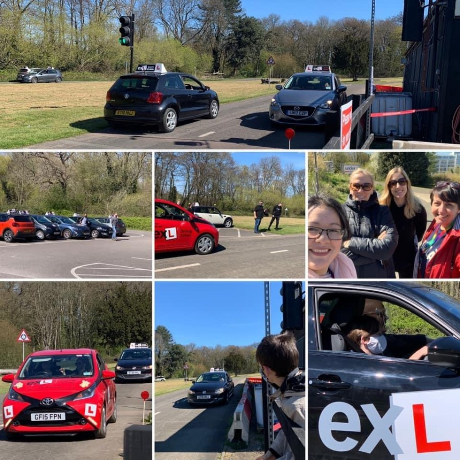 montage of driving school cars and drivers