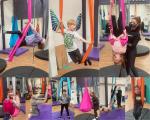 montage of children doing ariel yoga