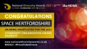Image says Congratulations SPACE on being shortlisted for the 2021 Community Organisation Award for Disability