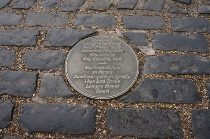 Plaque on the cobbles, Cardiff Bay-15