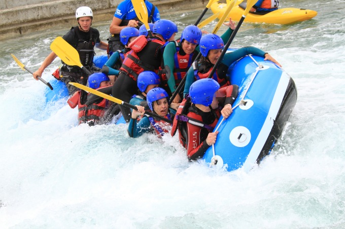 The thrill of white water rafting at the Lee Valley Olympic park is a fabulous break from the norm