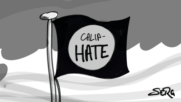 "Flag of the ISIS caliphate, only broken so as to read ""Calip-hate""."