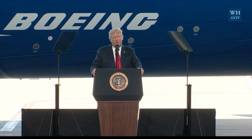 Image result for president trump with boeing rollout
