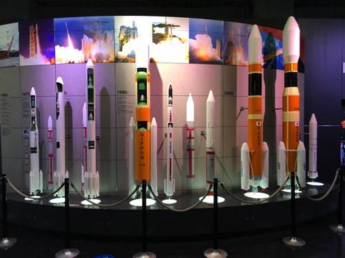 宇宙科学技術館にある日本の歴代ロケットの模型