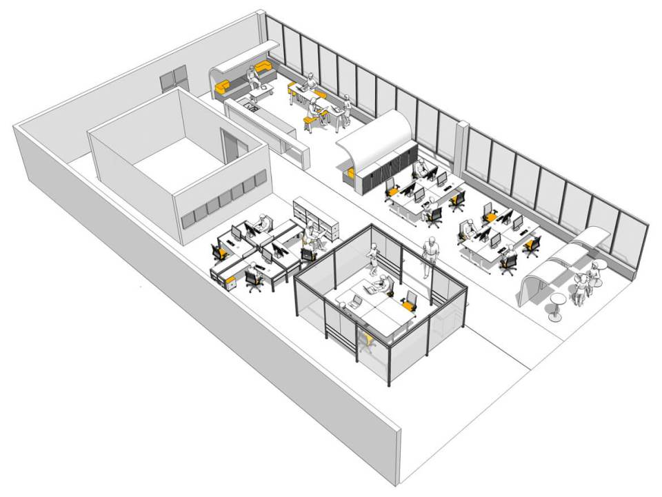 CAD rendering of on Office Furniture Space Plan