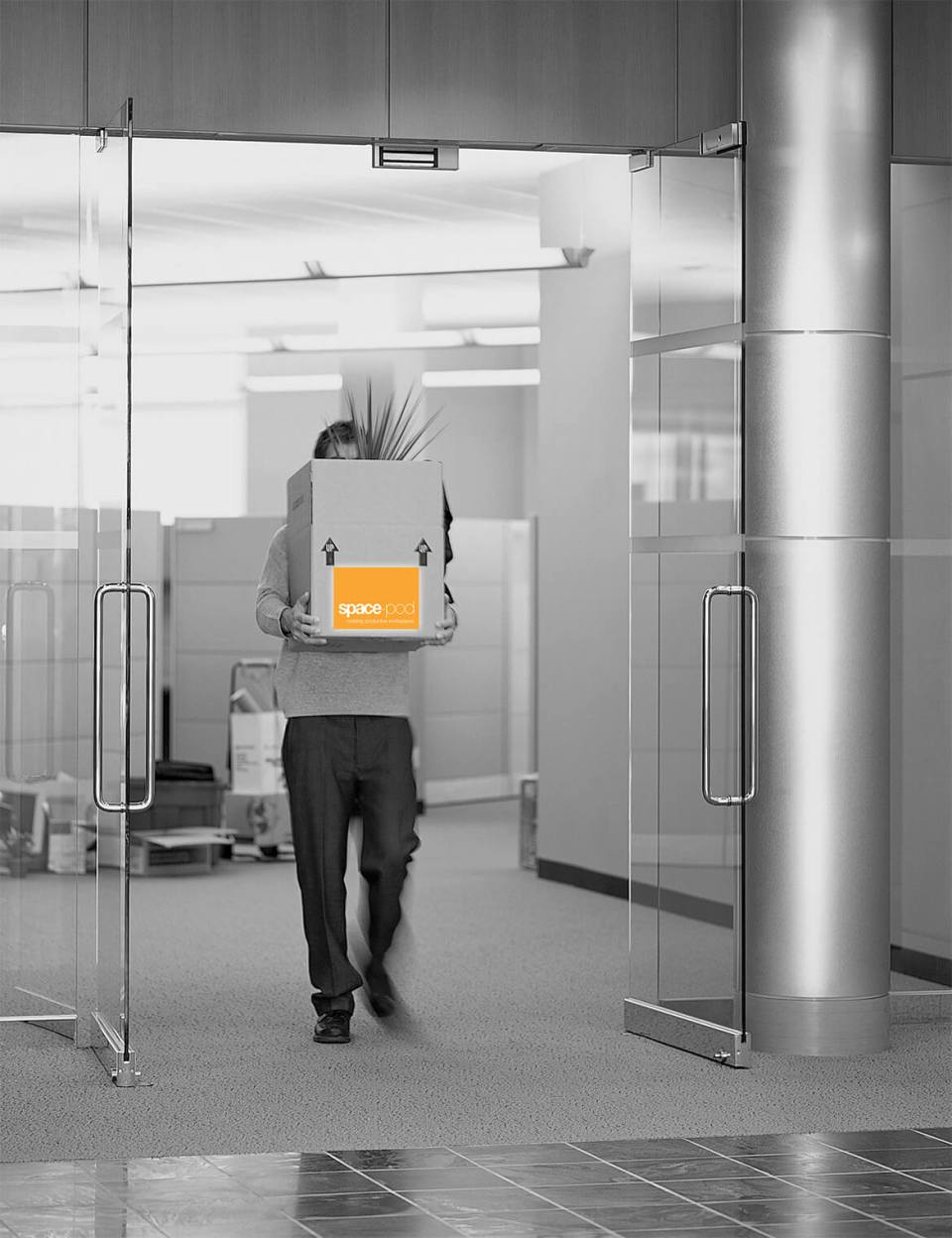 Image of man moving office