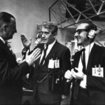 Wernher von Braun waiting for launch with Vice President Spiro Agnew