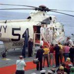 Apollo 9 crew onboard USS Guadalcanal