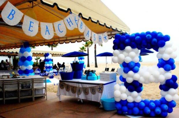 Boys Beach Themed Birthday Party Balloon Decorations
