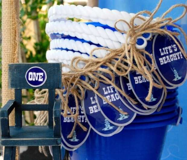 Boys Beach Themed Birthday Party Bucket Favors