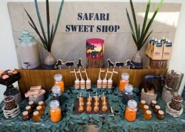 Boys Safari Birthday Party Sweet Shop Dessert Table