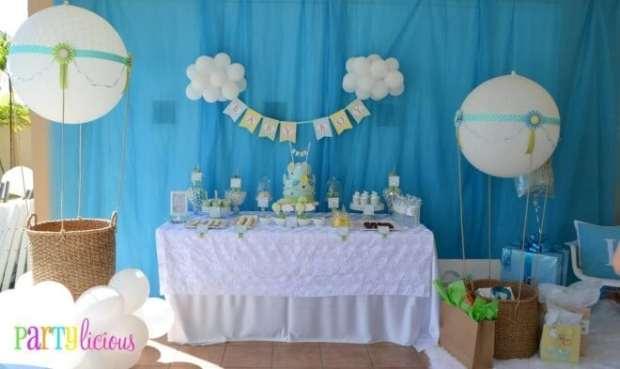 Boys Hot Air Balloon Baby Shower Decoration Ideas