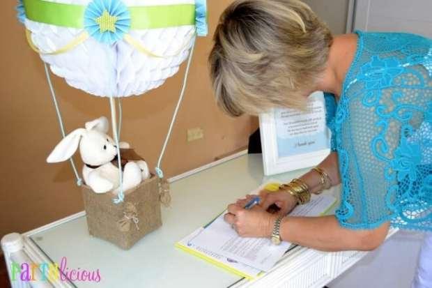 Boys Hot Air Balloon Baby Shower Guest book ideas