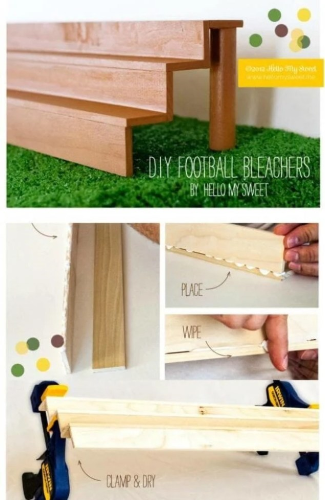 Make your own bleacher cupcake stand for your next Super Bowl bash!