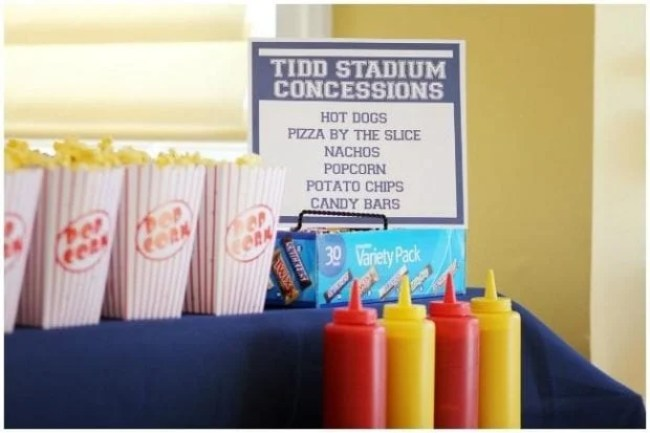 Bring the stadium to your home with a mock-concession stand sign.