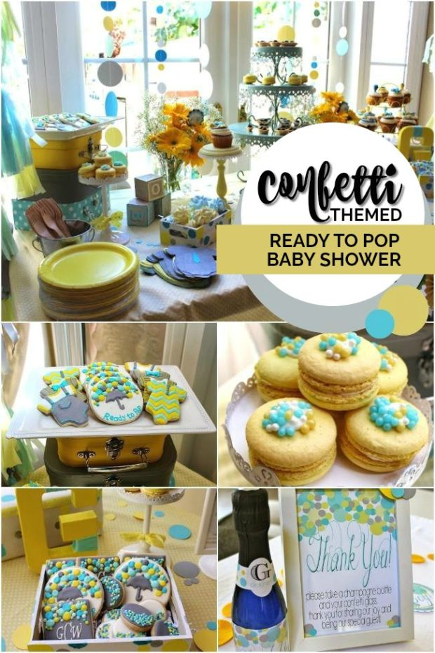 confetti themed baby shower ideas collage of photos