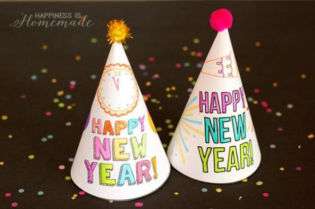 New Years Eve printable Party Hats