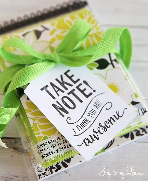 Take Note Printable Gift Tag for teachers