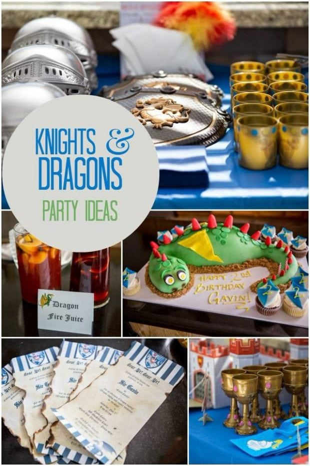A Boy S Knights And Dragons Birthday Party Spaceships
