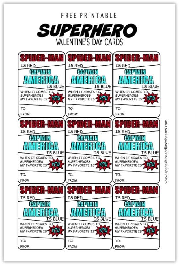 Freebie Friday Free Printable Superhero Valentine's Day