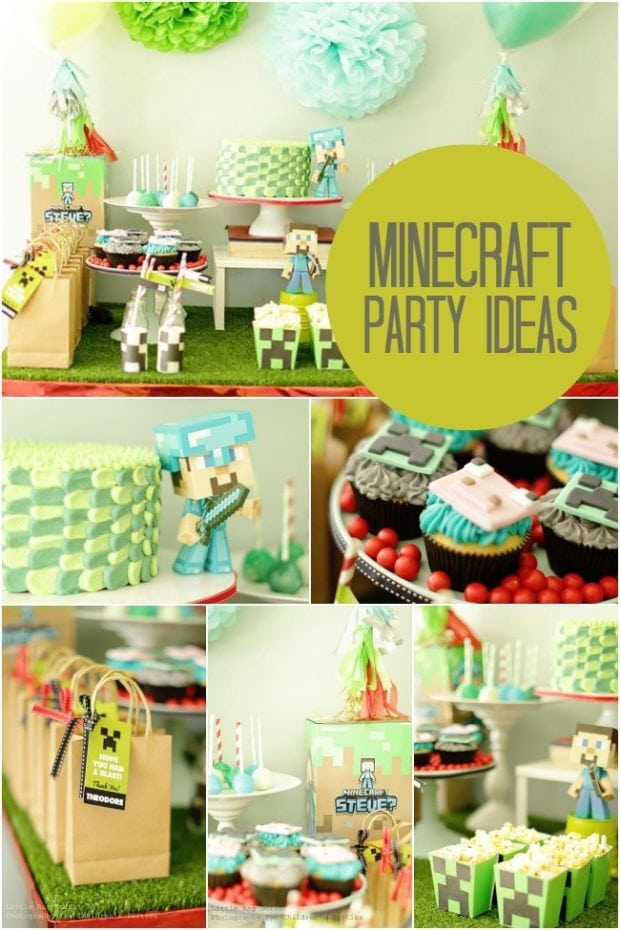 A Boy S First Class Minecraft Birthday Party Spaceships