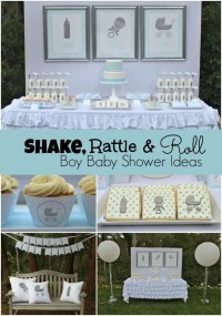 Shake, Rattle and Roll Boy Baby Shower | Spaceships and ...