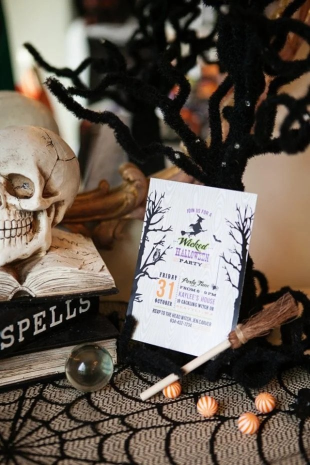 Witch Themed Halloween Party Invitation Idea