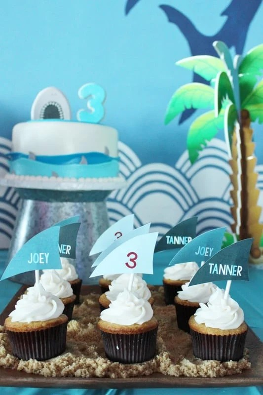 Boys Shark Themed Birthday party Cupcake Food Ideas