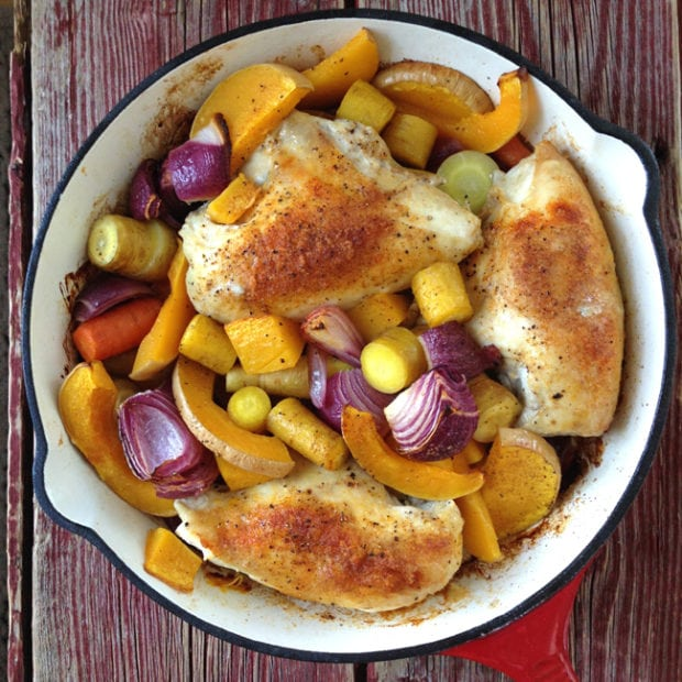 One Hour, One Pot Roasted Chicken Dinner