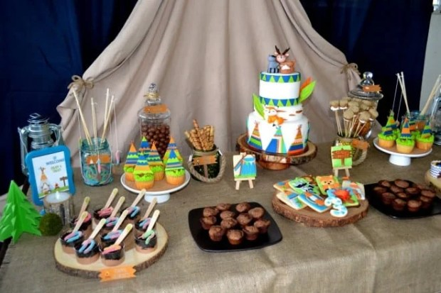 Boys Woodland Camping Themed Party Table