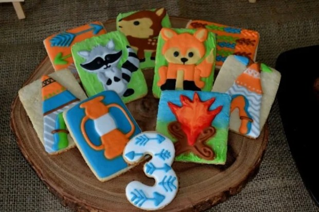 Boys Woodland Themed Camping Party Cookies